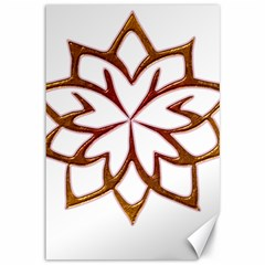 Abstract Shape Outline Floral Gold Canvas 12  x 18