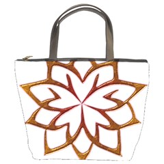 Abstract Shape Outline Floral Gold Bucket Bags
