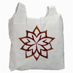 Abstract Shape Outline Floral Gold Recycle Bag (Two Side)