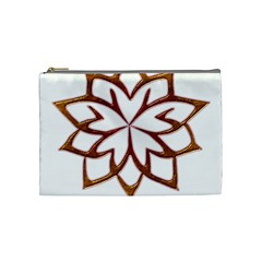 Abstract Shape Outline Floral Gold Cosmetic Bag (medium)