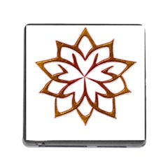 Abstract Shape Outline Floral Gold Memory Card Reader (square)