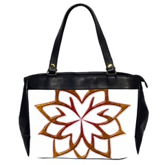 Abstract Shape Outline Floral Gold Office Handbags (2 Sides)