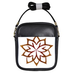 Abstract Shape Outline Floral Gold Girls Sling Bags