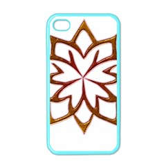 Abstract Shape Outline Floral Gold Apple iPhone 4 Case (Color)