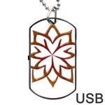 Abstract Shape Outline Floral Gold Dog Tag USB Flash (One Side) Front
