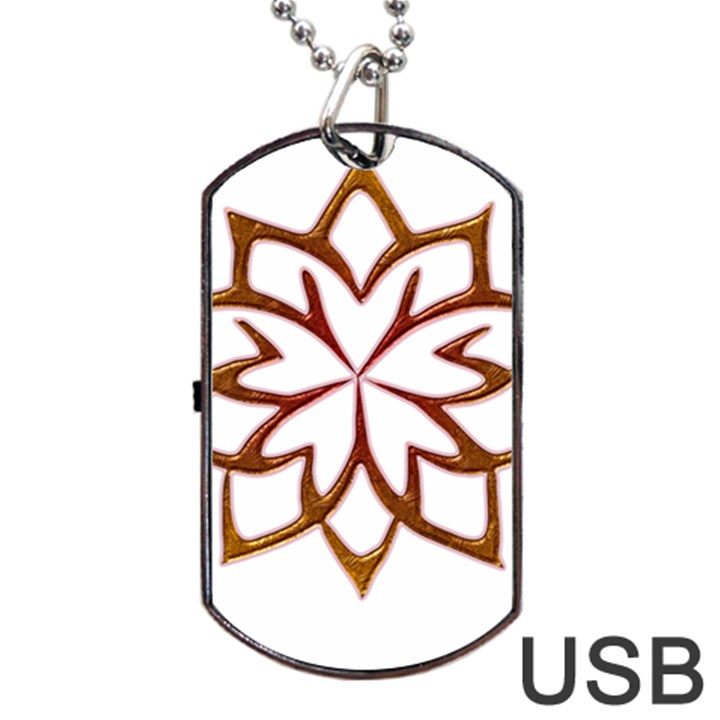 Abstract Shape Outline Floral Gold Dog Tag USB Flash (One Side)
