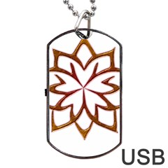 Abstract Shape Outline Floral Gold Dog Tag USB Flash (Two Sides)