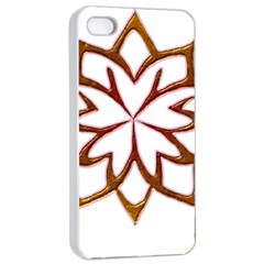 Abstract Shape Outline Floral Gold Apple Iphone 4/4s Seamless Case (white)
