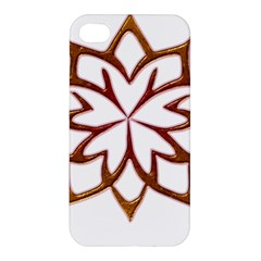 Abstract Shape Outline Floral Gold Apple Iphone 4/4s Premium Hardshell Case