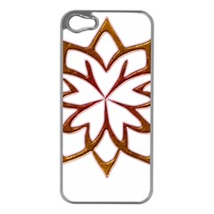 Abstract Shape Outline Floral Gold Apple iPhone 5 Case (Silver)