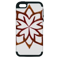 Abstract Shape Outline Floral Gold Apple Iphone 5 Hardshell Case (pc+silicone)
