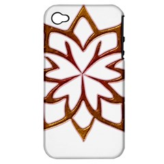 Abstract Shape Outline Floral Gold Apple iPhone 4/4S Hardshell Case (PC+Silicone)