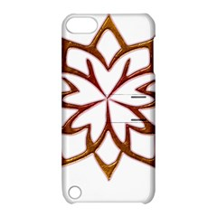 Abstract Shape Outline Floral Gold Apple Ipod Touch 5 Hardshell Case With Stand