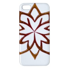 Abstract Shape Outline Floral Gold Apple iPhone 5 Premium Hardshell Case