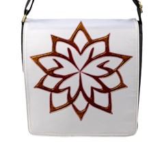 Abstract Shape Outline Floral Gold Flap Messenger Bag (l)