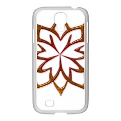 Abstract Shape Outline Floral Gold Samsung GALAXY S4 I9500/ I9505 Case (White)