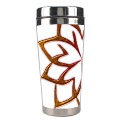 Abstract Shape Outline Floral Gold Stainless Steel Travel Tumblers