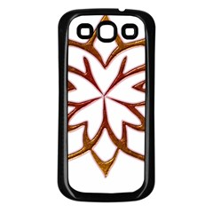 Abstract Shape Outline Floral Gold Samsung Galaxy S3 Back Case (Black)