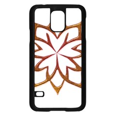 Abstract Shape Outline Floral Gold Samsung Galaxy S5 Case (Black)