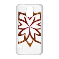 Abstract Shape Outline Floral Gold Samsung Galaxy S5 Case (White)