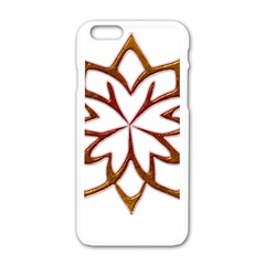 Abstract Shape Outline Floral Gold Apple Iphone 6/6s White Enamel Case