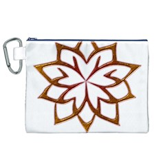 Abstract Shape Outline Floral Gold Canvas Cosmetic Bag (xl)
