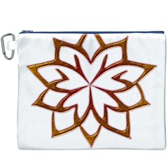 Abstract Shape Outline Floral Gold Canvas Cosmetic Bag (XXXL)