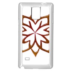 Abstract Shape Outline Floral Gold Samsung Galaxy Note 4 Case (White)