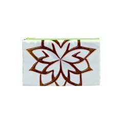 Abstract Shape Outline Floral Gold Cosmetic Bag (xs)