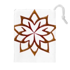 Abstract Shape Outline Floral Gold Drawstring Pouches (Extra Large)