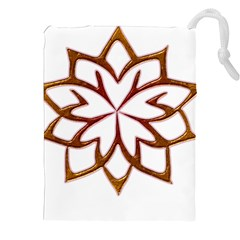 Abstract Shape Outline Floral Gold Drawstring Pouches (XXL)