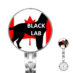 Black Lab Name Silo Canadian Flag Stainless Steel Nurses Watch