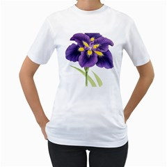 Lily Flower Plant Blossom Bloom Women s T-Shirt (White) (Two Sided)