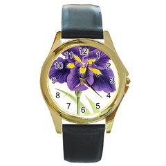Lily Flower Plant Blossom Bloom Round Gold Metal Watch