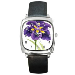 Lily Flower Plant Blossom Bloom Square Metal Watch