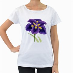 Lily Flower Plant Blossom Bloom Women s Loose Fit T Shirt (white)