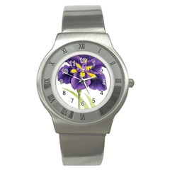 Lily Flower Plant Blossom Bloom Stainless Steel Watch