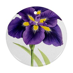 Lily Flower Plant Blossom Bloom Round Ornament (Two Sides)