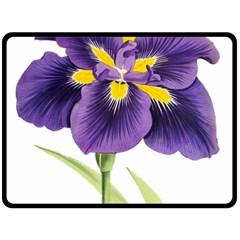 Lily Flower Plant Blossom Bloom Fleece Blanket (Large)