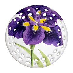 Lily Flower Plant Blossom Bloom Ornament (round Filigree)