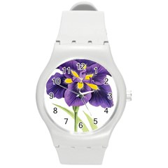 Lily Flower Plant Blossom Bloom Round Plastic Sport Watch (M)