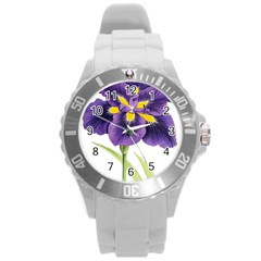 Lily Flower Plant Blossom Bloom Round Plastic Sport Watch (l)