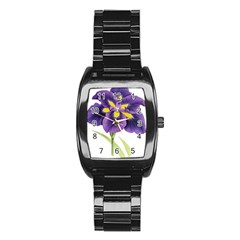 Lily Flower Plant Blossom Bloom Stainless Steel Barrel Watch