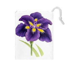 Lily Flower Plant Blossom Bloom Drawstring Pouches (large)