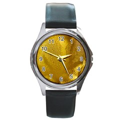 Beer Beverage Glass Yellow Cup Round Metal Watch