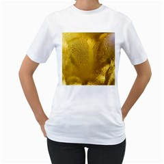 Beer Beverage Glass Yellow Cup Women s T Shirt (white) (two Sided)