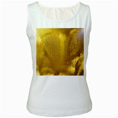 Beer Beverage Glass Yellow Cup Women s White Tank Top