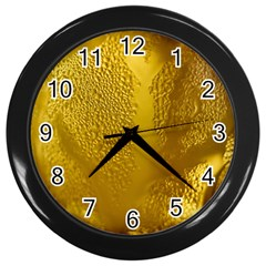 Beer Beverage Glass Yellow Cup Wall Clocks (Black)