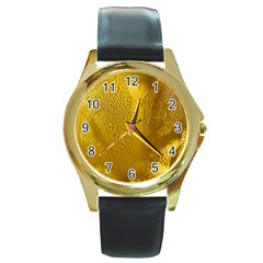 Beer Beverage Glass Yellow Cup Round Gold Metal Watch