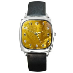 Beer Beverage Glass Yellow Cup Square Metal Watch